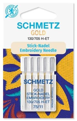 Иглы Schmetz Gold вышивальн.№75(5шт) 130/705 H-ET № 75 фото №1