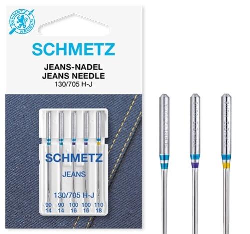 Иглы Schmetz джинс №90-110(5шт) 130/705 H-J № 90(2 шт), 100(2 шт), 110(1 шт) фото №2