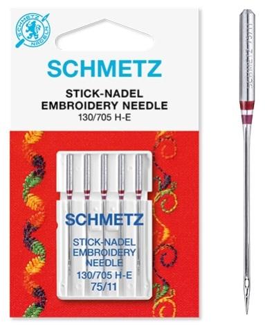 Иглы Schmetz вышивальные №75(5шт) 130/705 H-E № 75  фото №3