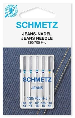 Иглы Schmetz джинс №90-110(5шт) 130/705 H-J № 90(2 шт), 100(2 шт), 110(1 шт) фото №1