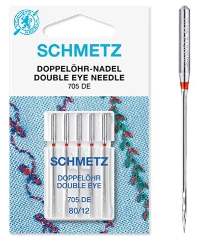 Иглы Schmetz с двойн. отверстием №80(5шт) 705 DE № 80 фото №2