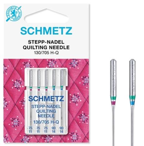 Иглы Schmetz для квилтинга №75-90(5шт) 130/705 H-Q № 75(3 шт), 90(2 шт) фото №3